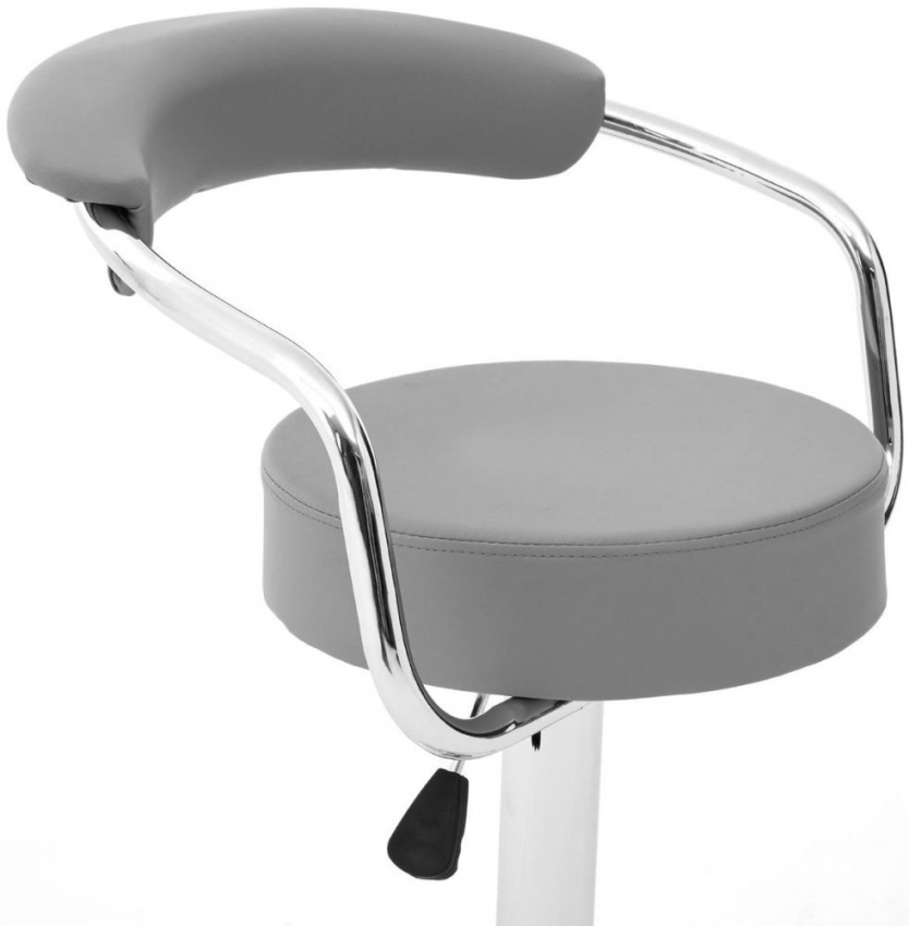 Scala Bar Chair (Pair) - Grey Faux Leather and Chrome