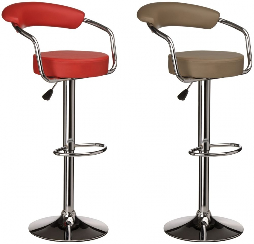 Scala Brown Leather Effect Bar Chair (Pair)