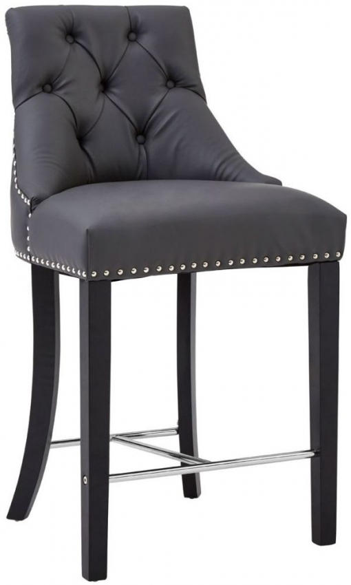 Regents Park Bar Chair (Pair) - Grey Faux Leather and Hevea Wood