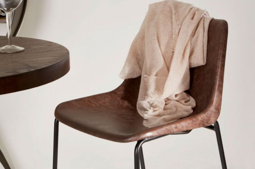 Dalston Bar Stool - Mocha Faux Leather and Black Metal