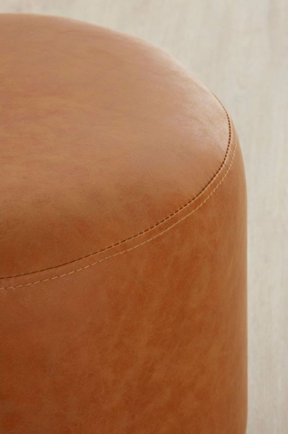 Dalston Footstool - Camel Faux Leather and Black Metal