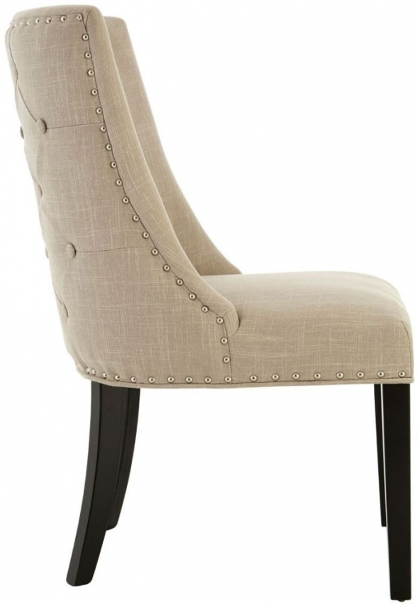 Natural Linen Curly Back Dining Chair (Pair)