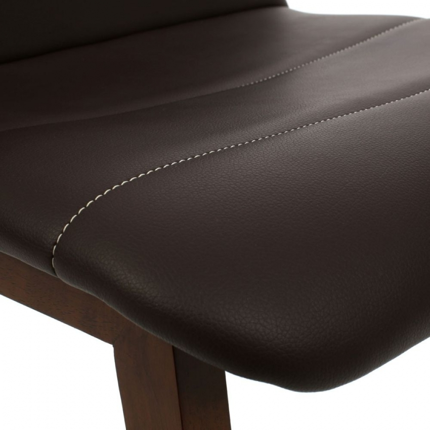 Brown Leather Effect Dining Chair (Pair)