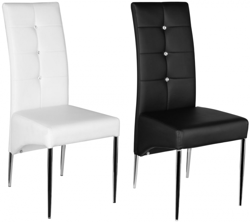 Black Leather Effect Dining Chair with Chrome Legs (Set of 4)