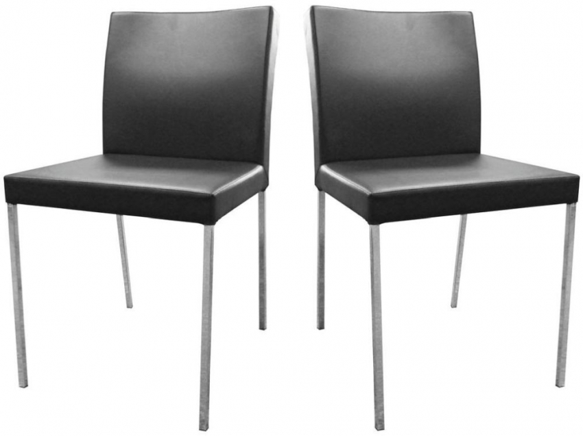 Black Leather Effect Dining Chair (Pair)