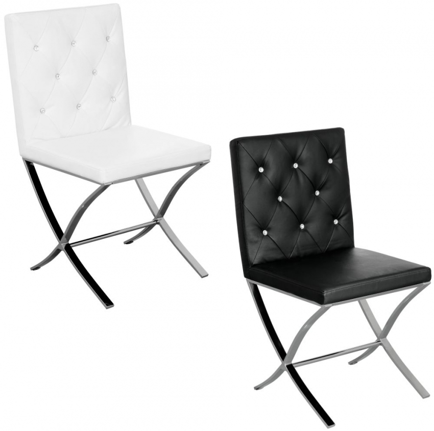 Diamante Black Leather Effect Dining Chair (Pair)