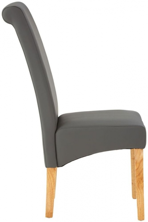 Hertford Grey Faux Leather Dining Chair (Pair)