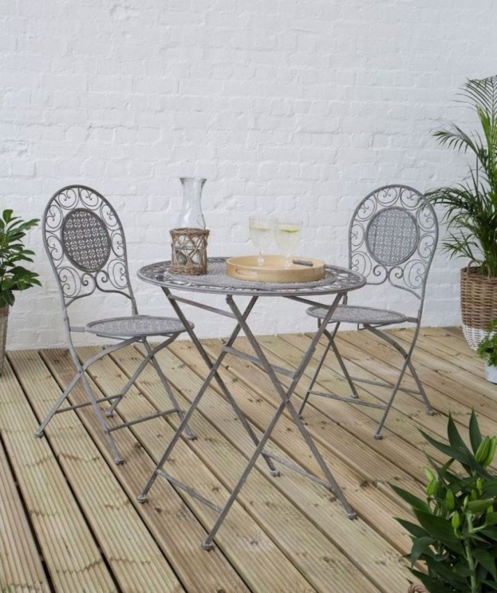 Finchwood Jardin Grey Iron Round Dining Table and 2 Chairs