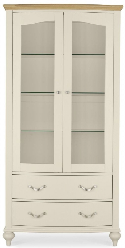 Bentley Designs Montreux Pale Oak and Antique White Display Cabinet - CL-81026