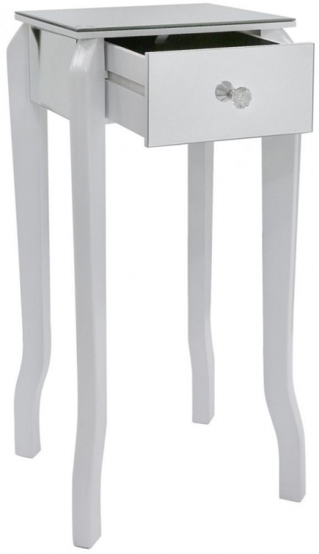 Ribera Mirrored White Trim Lamp Table