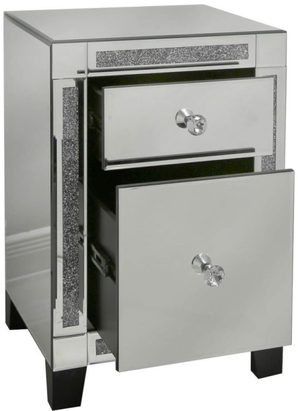 Sassari Value Gunmetal Mirrored 2 Drawer Bedside Cabinet with Crystal Handles (Set of 2)