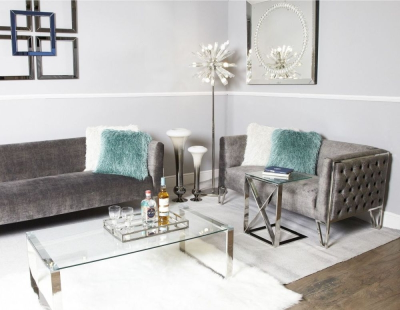 Brilliant Linosa Silver Sofa Table Glass And Chrome Caraccident5 Cool Chair Designs And Ideas Caraccident5Info