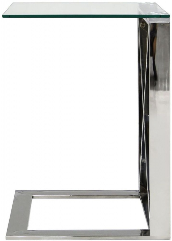 Linosa Silver Sofa Table - Glass and Chrome
