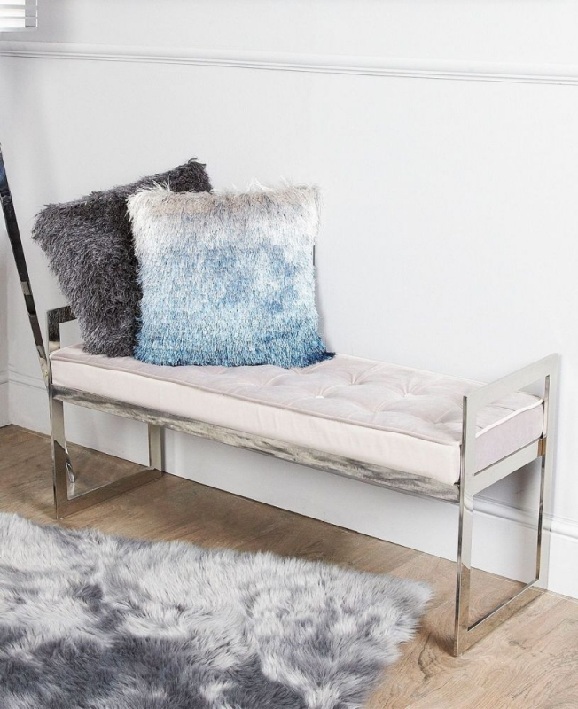 Linosa Fabric and Chrome Bench