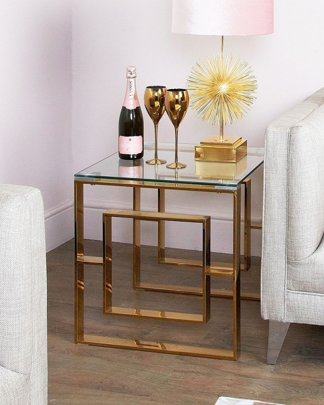 Platini Glass and Gold Square End Table