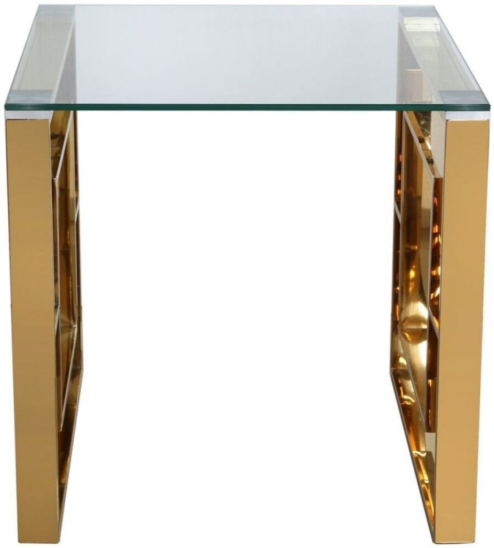 Platini Gold Metal with Glass Top End Table