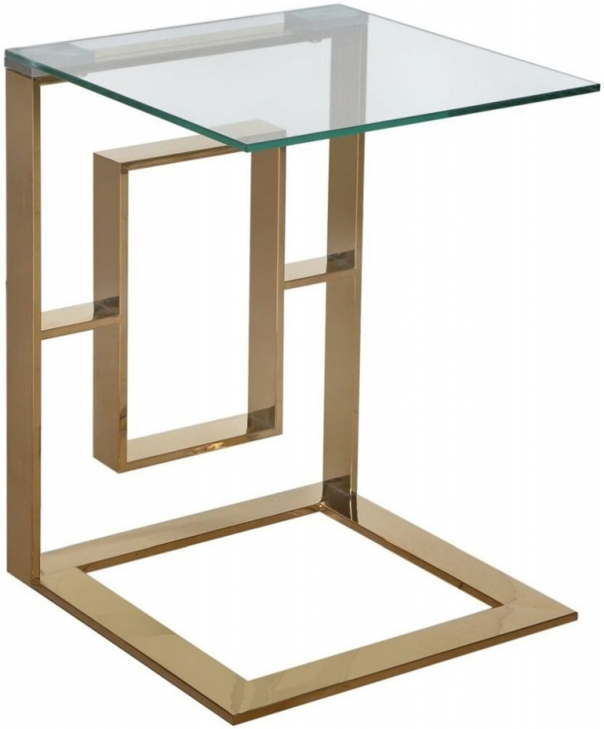 Platini Gold Metal with Glass Top Sofa Table