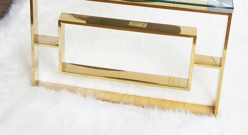 Platini Glass and Gold Coffee Table