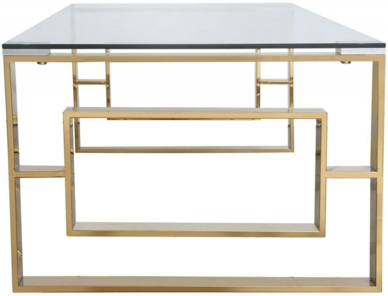 Platini Gold Metal with Glass Top Coffee Table