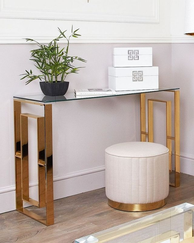 Platini Glass and Gold Console Table