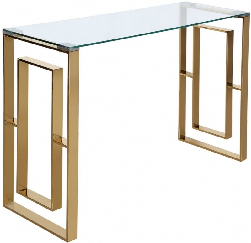 Platini Gold Metal with Glass Top Console Table