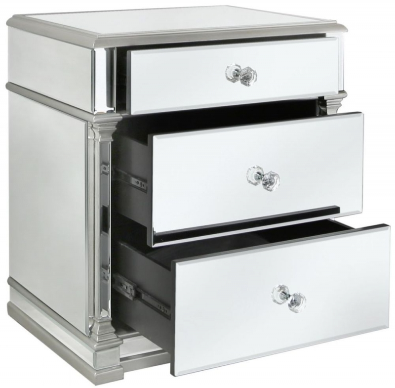 Antrim Silver Mirrored 3 Drawer Bedside Cabinet