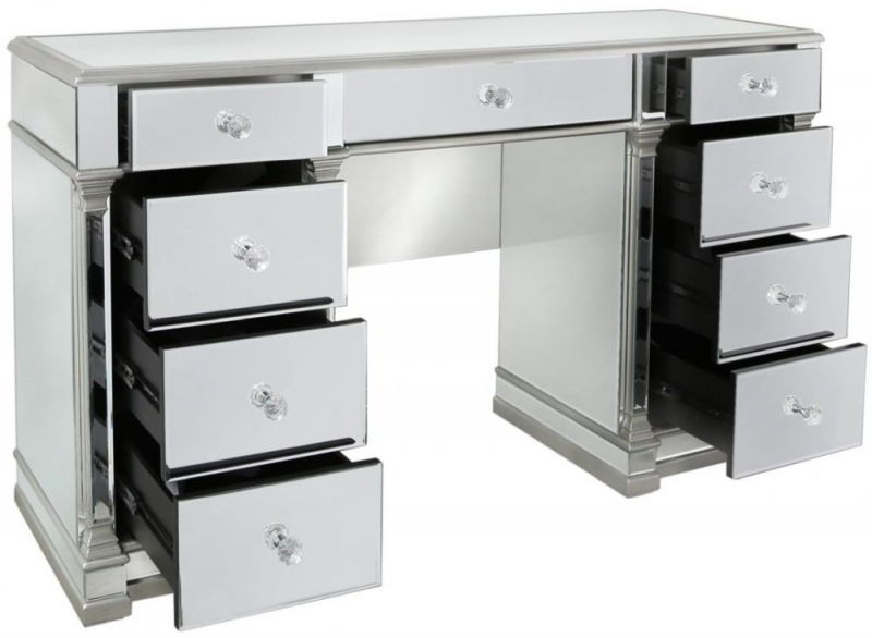 Antrim Silver Mirrored 9 Drawer Dressing Table