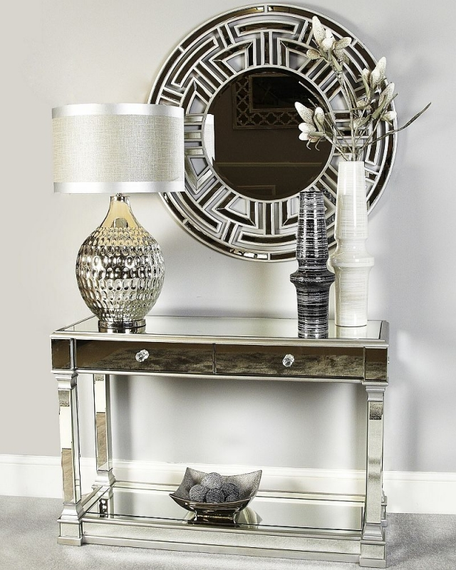CIMC Antrim Silver Mirrored 2 Drawer Console Table