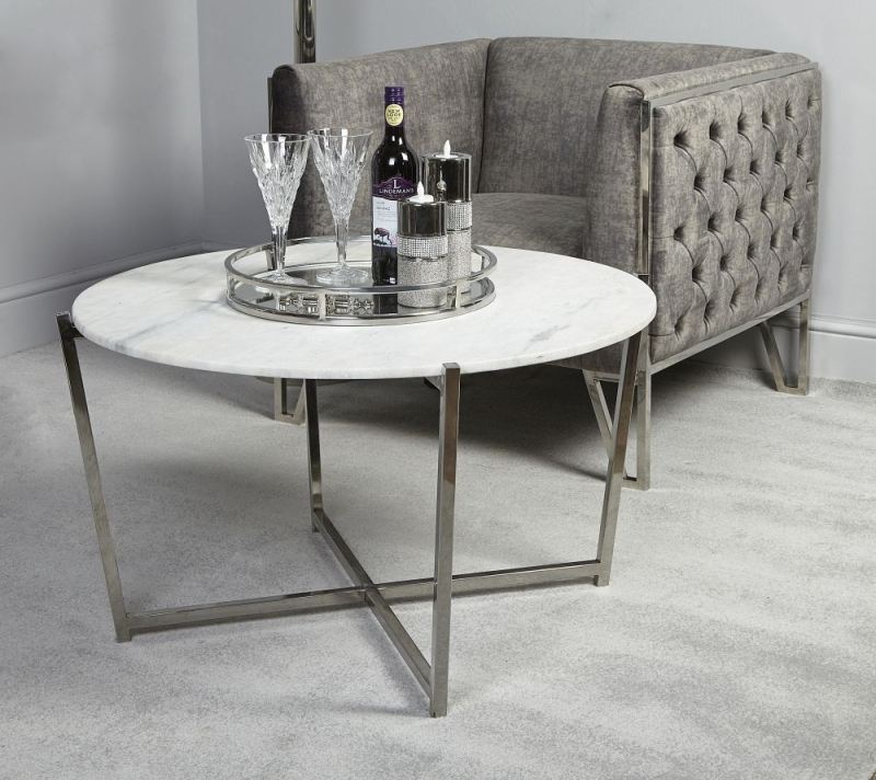 Elverson Glossy Round Coffee Table Marble Effect And Chrome
