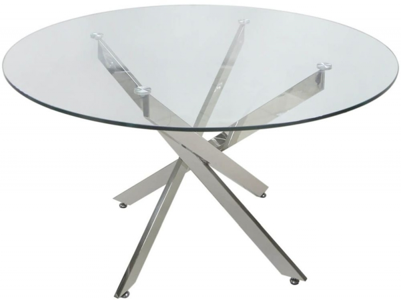 Nanty Large Round Dining Table - Glass and Chrome