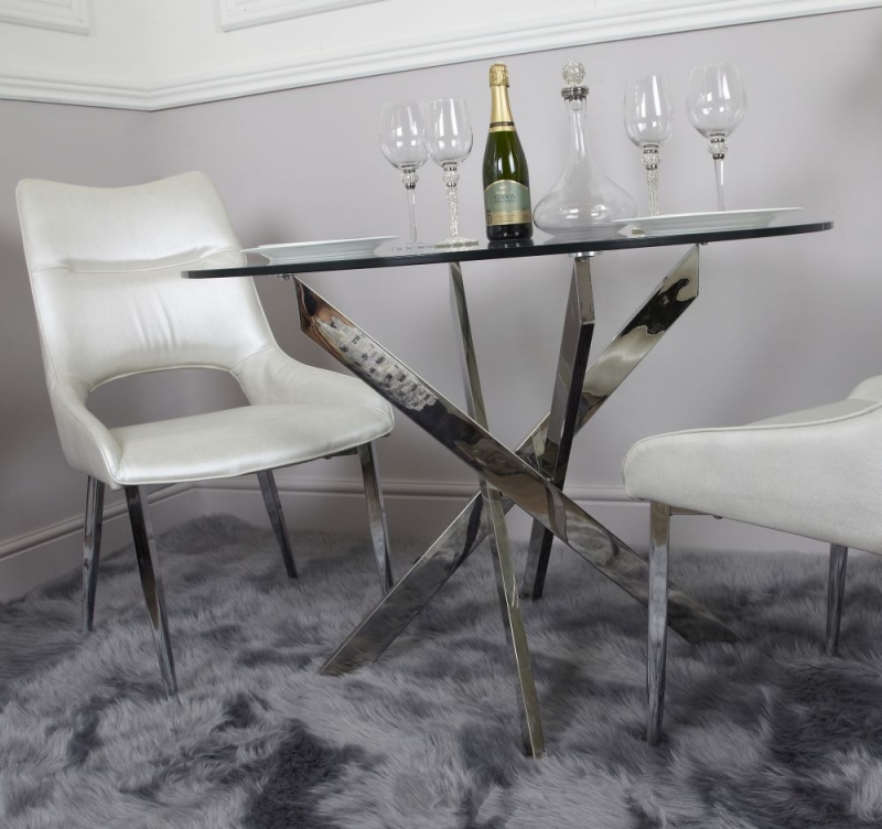 Nanty Glass 100cm Round Dining Table