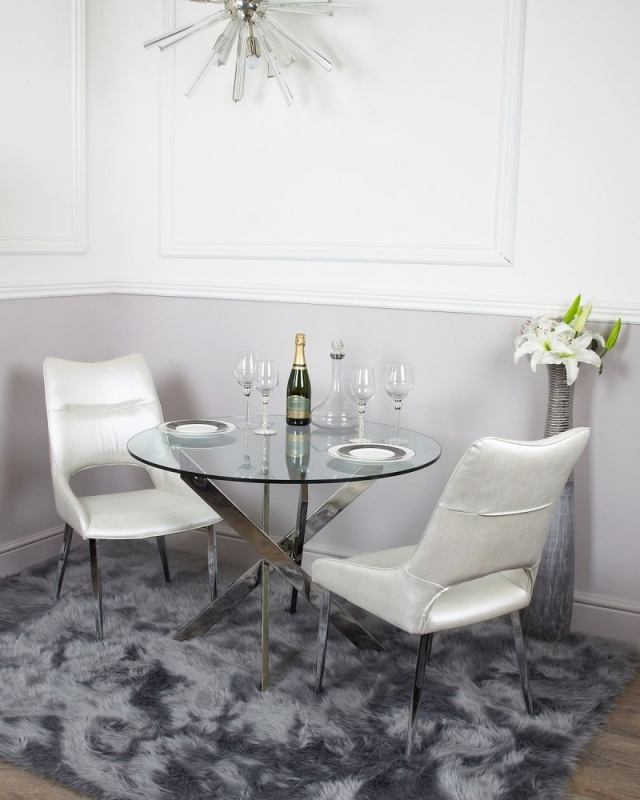 Nanty Round Dining Table - Glass and Chrome
