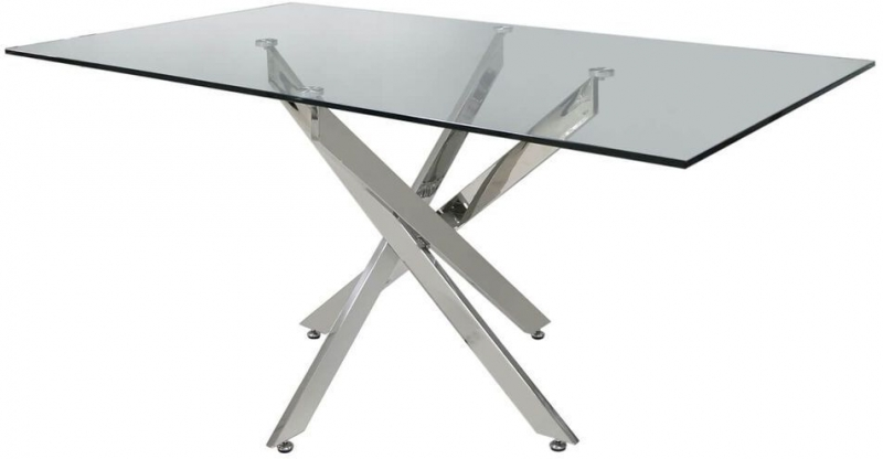 Nanty Dining Table - Glass and Chrome