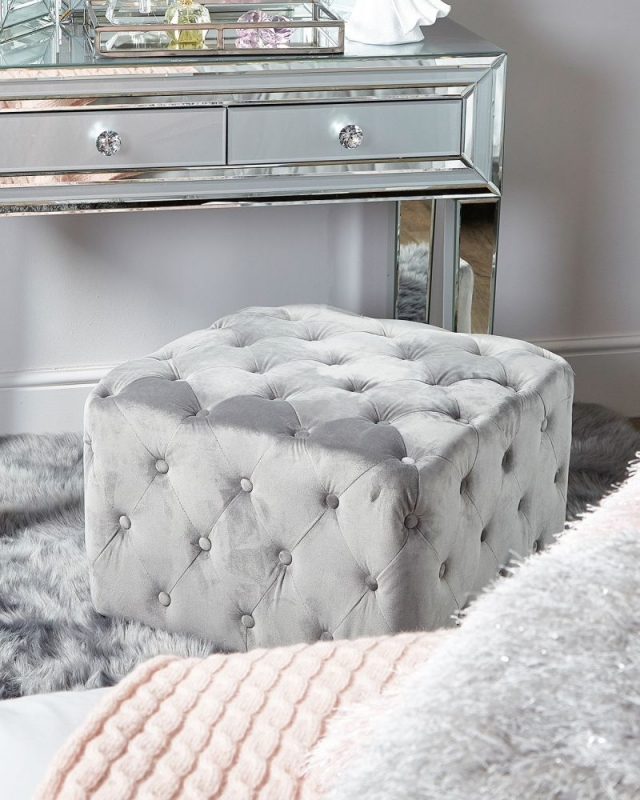 Troy Grey Fabric Square Stool