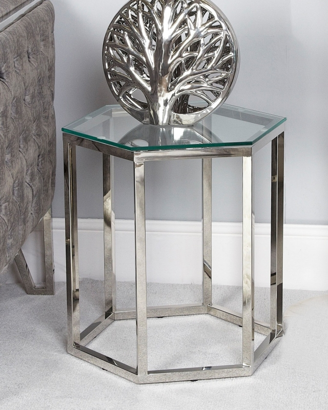 Hamlin End Table - Glass and Silver