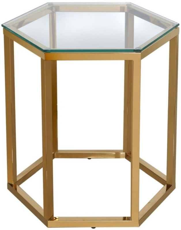 Hamlin Glass and Gold End Table