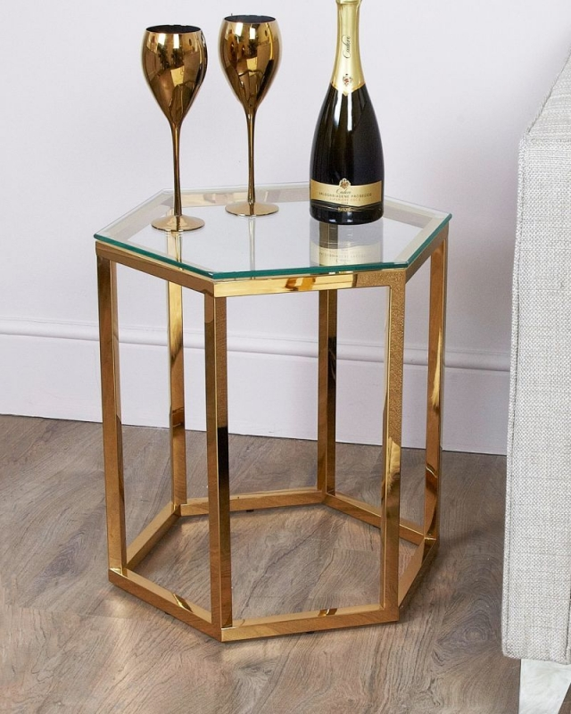 Hamlin End Table - Glass and Gold