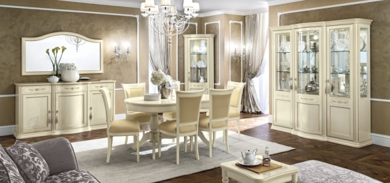 Camel Torriani Day Ivory Italian 160cm Oval Extending Dining Set with 6 Chairs