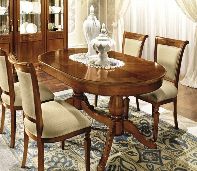 Camel Torriani Day Walnut Italian Oval Extending Dining Table and Chairs