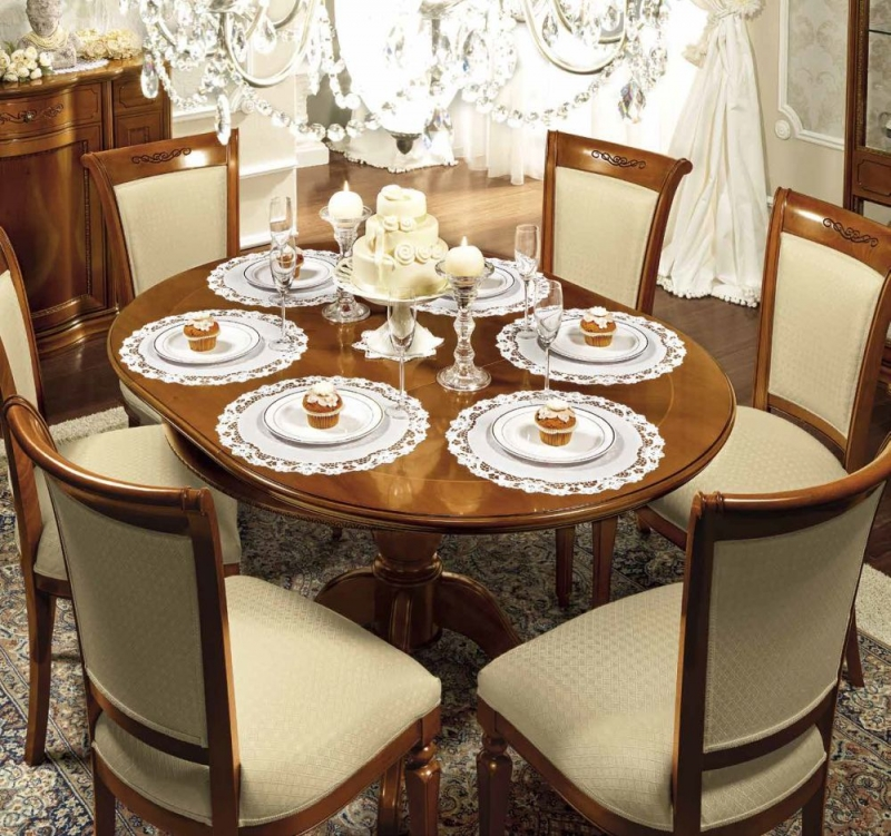 Camel Torriani Day Walnut Italian 110cm Round Extending Dining Set with 4 Chair