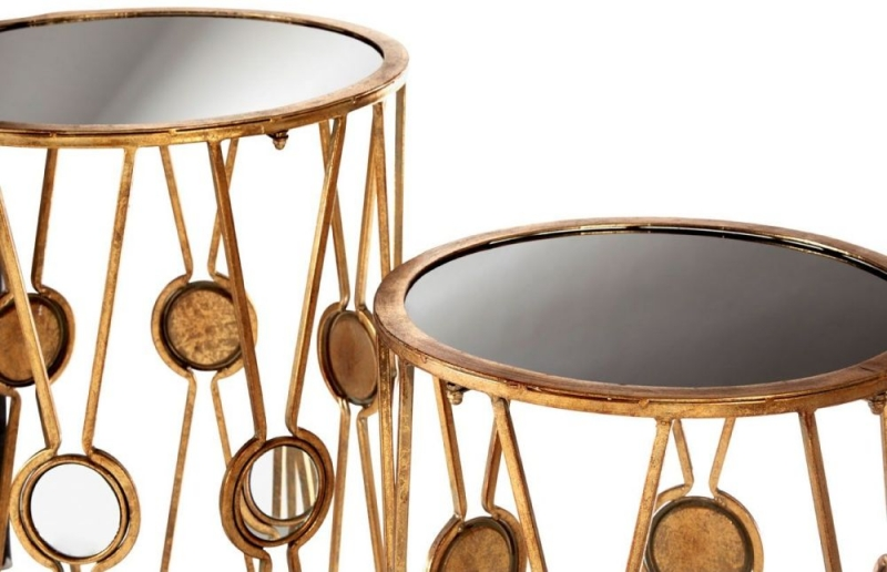 Faiza Round End Table (Set of 2) - Gold Metal and Black Glass