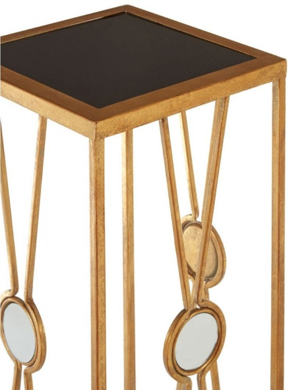 Faiza Gold X Design Square Flower and Plant Stand (Set of 2)