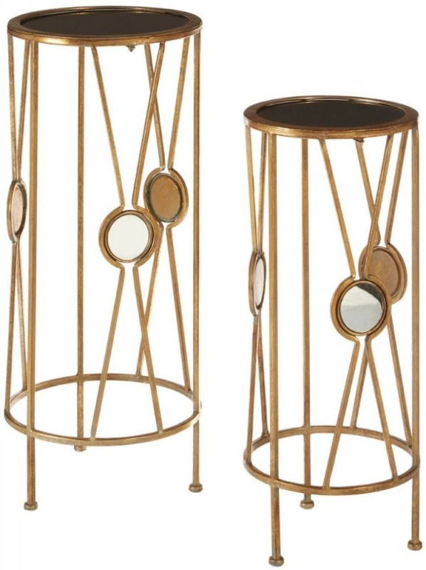 Faiza Gold X Design Round Flower and Plant Stand (Set of 2)
