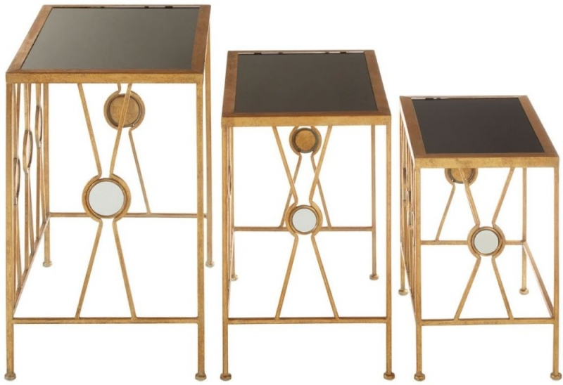 Faiza Gold X Design Nest of Table (Set Of 3)