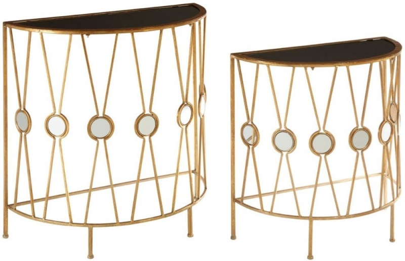 Faiza Gold X Design Console Table (Set of 2)
