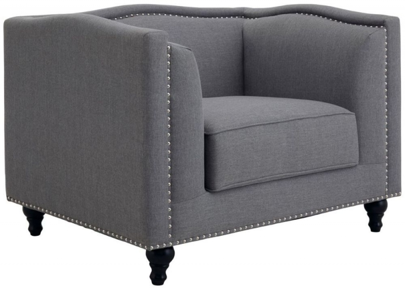 Feya Grey Fabric Armchair
