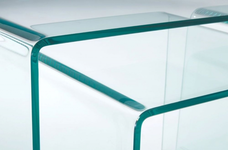 Matrix Clear Bent Glass Coffee Table (Set of 3)