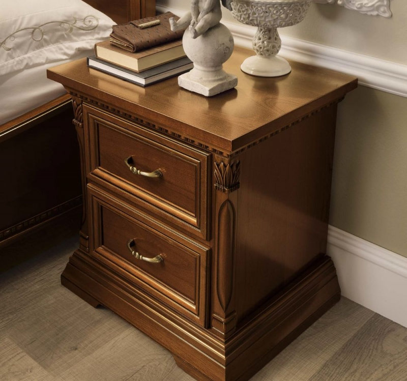Camel Treviso Night Cherry Wood Italian 2 Drawer Bedside Cabinet