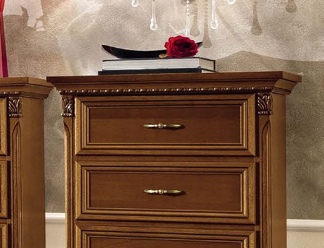Camel Treviso Night Cherry Wood Italian 5 Drawer Chest