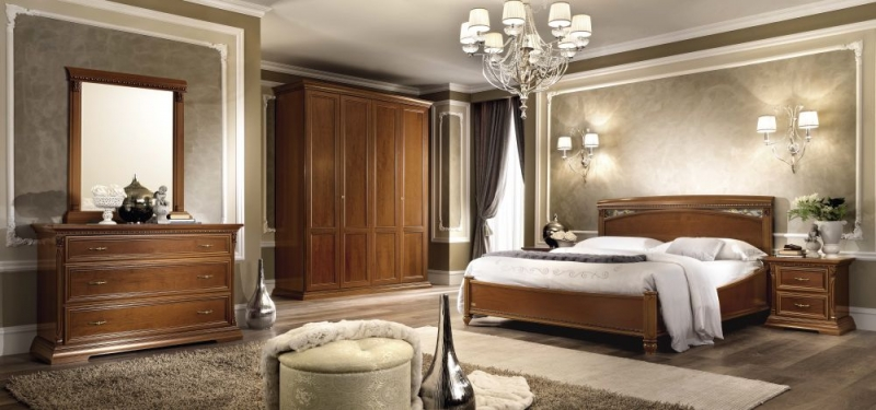 Camel Treviso Night Cherry Wood Italian 4 Door Wardrobe